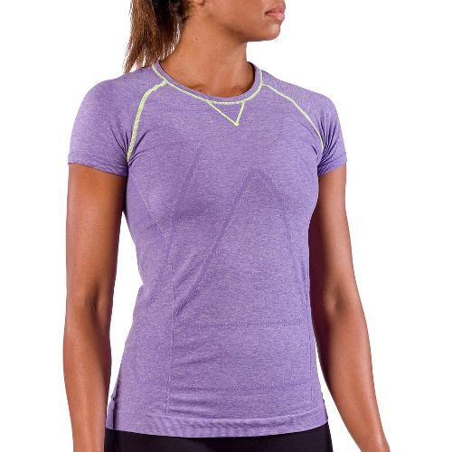 Womens Zensah Run Seamless Short Sleeve Technical Tops - Heather Purple S