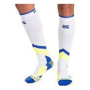 Zensah POP Tech+ Compression Socks Injury Recovery - White/Blue/Yellow L