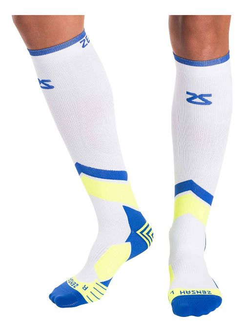Zensah POP Tech+ Compression Socks Injury Recovery - White/Blue/Yellow L