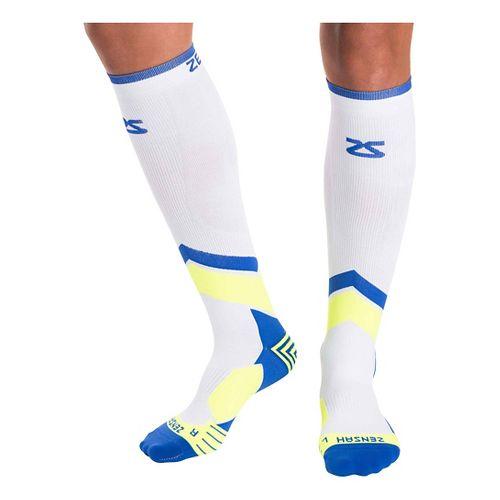 Zensah POP Tech+ Compression Socks Injury Recovery - White/Blue/Yellow M