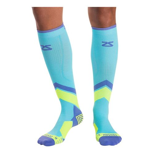 Zensah POP Tech+ Compression Socks Injury Recovery - Aqua/Yellow/Purple S