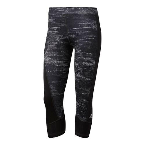 Womens Adidas Techfit Capri -Macro Heather Capris Tights - Black/Silver M