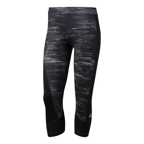 Womens Adidas Techfit Capri -Macro Heather Capris Tights - Black/Silver XL