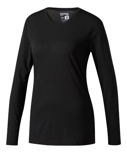 Womens Adidas Ultimate Tee Long Sleeve Technical Tops - Black XXL