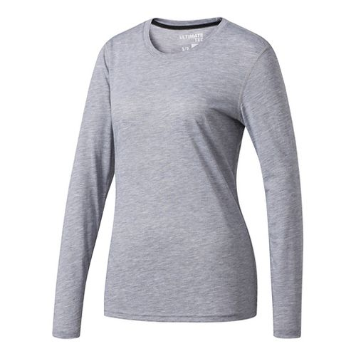 Womens Adidas Ultimate Tee Long Sleeve Technical Tops - Grey M