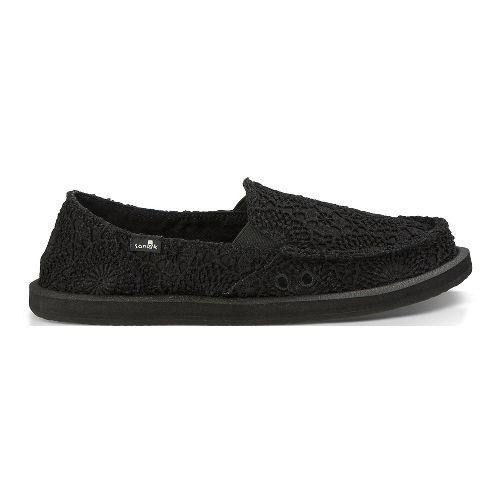 Womens Sanuk Donna Crochet Casual Shoe - Black/Black 8
