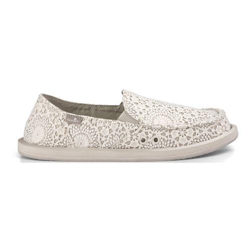 Womens Sanuk Donna Crochet Casual Shoe - White/Oatmeal 8