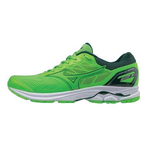 Mens Mizuno Wave Rider 21 Running Shoe - Green Slime/Gecko 10
