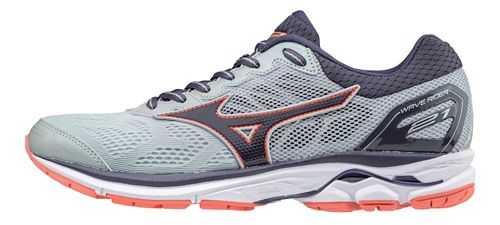 Womens Mizuno Wave Rider 21 Running Shoe - Grey/Navy 11.5