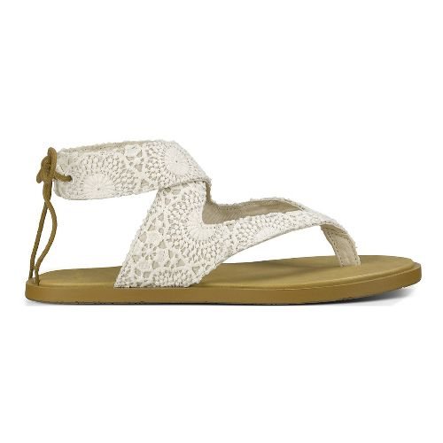 Womens Sanuk Yoga Mariposa Crochet Sandals Shoe - White/Oatmeal 11