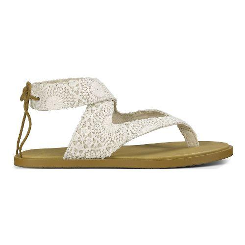 Womens Sanuk Yoga Mariposa Crochet Sandals Shoe - White/Oatmeal 7