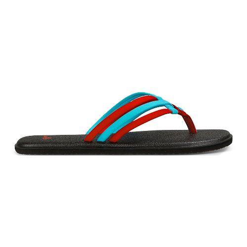 Womens Sanuk Yoga Salty Sandals Shoe - Aqua/Bright Red 11