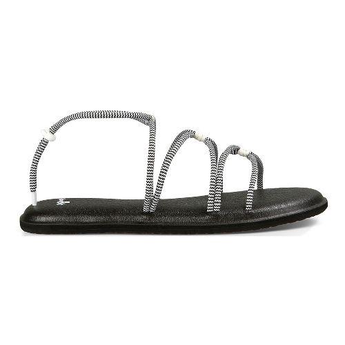 Womens Sanuk Yoga Sunrise Sandals Shoe - Black/White 5