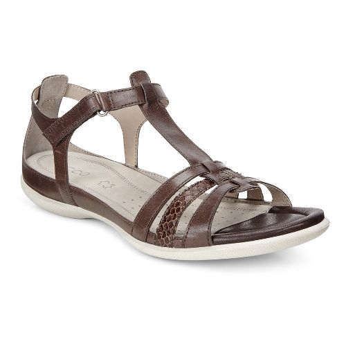 Womens Ecco Flash T-Strap Sandals Shoe - Coffee 36