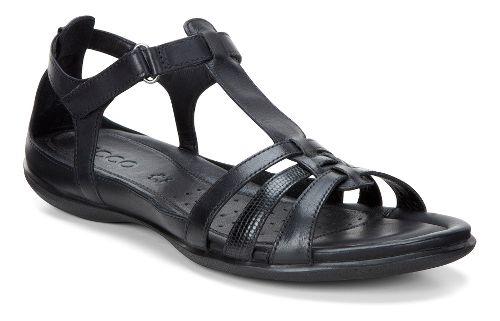 Womens Ecco Flash T-Strap Sandals Shoe - Black 40