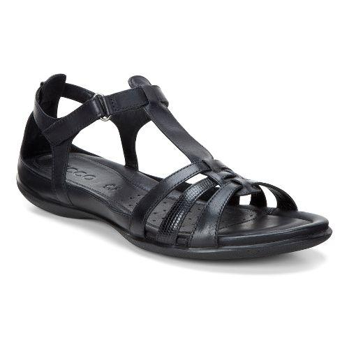 Womens Ecco Flash T-Strap Sandals Shoe - Black 38