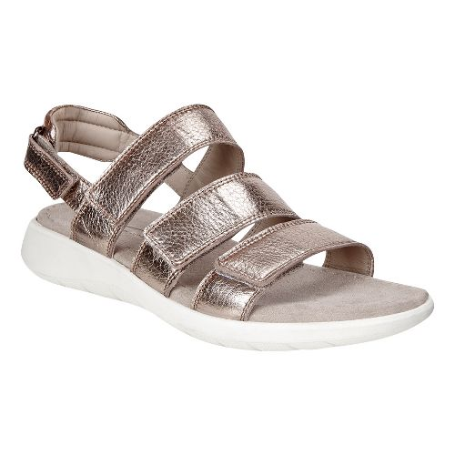 Womens Ecco Soft 5 3-Strap Sandals Shoe - Warm Grey 38