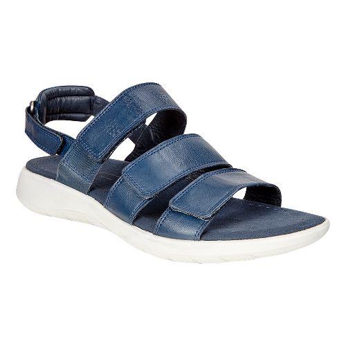 Womens Ecco Soft 5 3-Strap Sandals Shoe - True Navy 37