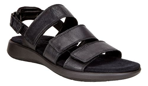 Womens Ecco Soft 5 3-Strap Sandals Shoe - Black 36