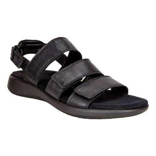 Womens Ecco Soft 5 3-Strap Sandals Shoe - Black 37