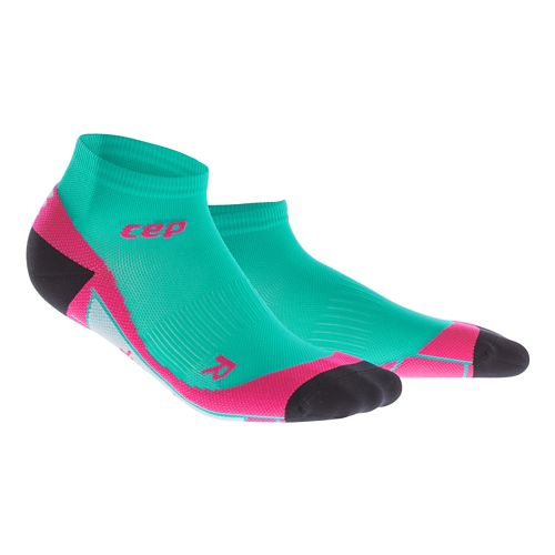 Womens CEP Dynamic+ Low Cut Socks Injury Recovery - Lagoon/Pink M