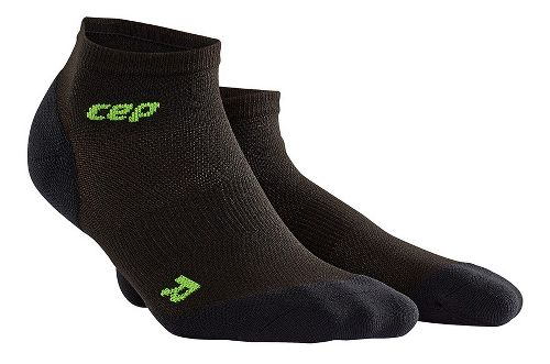 Mens CEP Dynamic+ Run Ultralight Low-Cut Socks Injury Recovery - Black/Green M