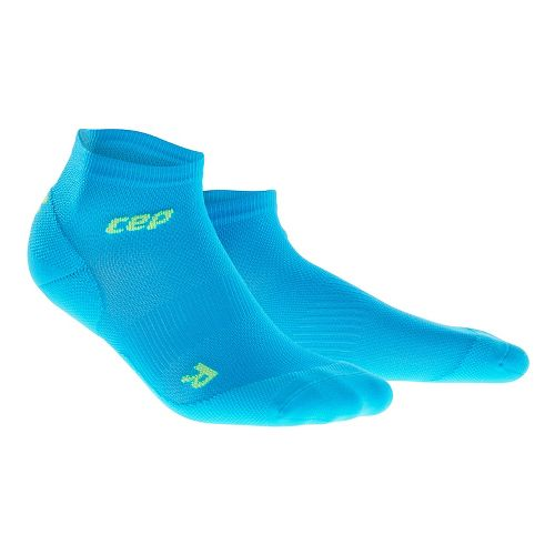 Mens CEP Dynamic+ Run Ultralight Low-Cut Socks Injury Recovery - Electric Blue/Green M