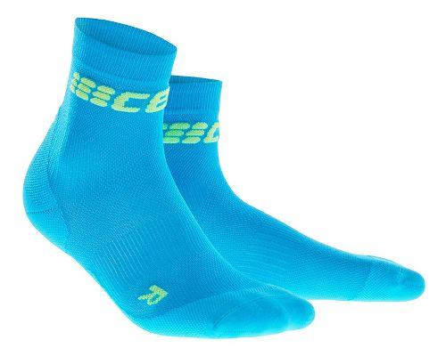 Mens CEP Dynamic+ Ultralight Short Socks Injury Recovery - Electric Blue/Green XL