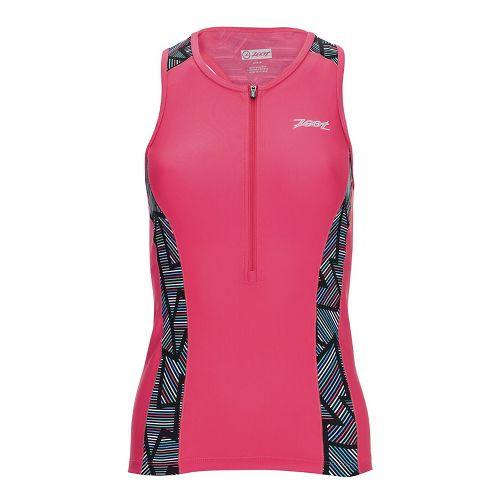 Womens Zoot Performance Tri Sleeveless & Tank Tops Technical Tops - Pink Long Board L ...