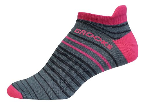 Brooks Launch Lightweight Tab 3 Pack Socks - Oxford/Bright Pink S