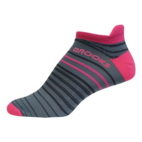 Brooks Launch Lightweight Tab 3 Pack Socks - Oxford/Bright Pink M
