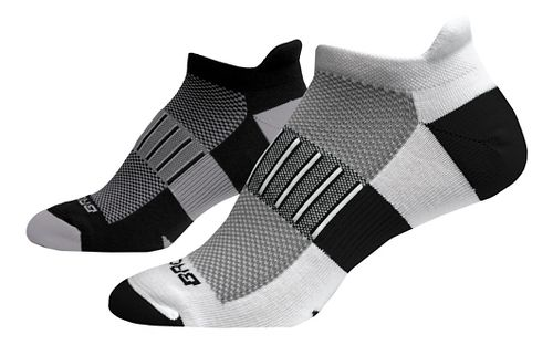 Brooks Ghost Midweight Tab 6 Pack Socks - Grey/Black/White L
