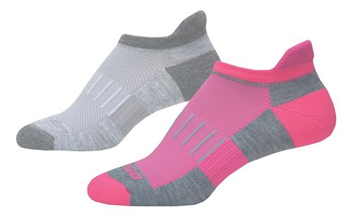 Brooks Ghost Midweight Tab 6 Pack Socks - Grey/Pink M
