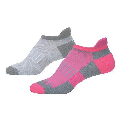 Brooks Ghost Midweight Tab 6 Pack Socks - Grey/Pink S