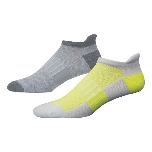 Brooks Ghost Midweight Tab 6 Pack Socks - Grey/Yellow M