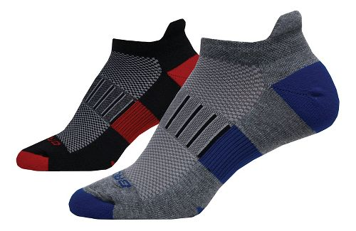 Brooks Ghost Midweight Tab 6 Pack Socks - Black/Red/Grey L