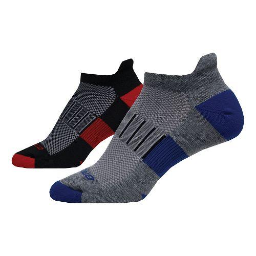 Brooks Ghost Midweight Tab 6 Pack Socks - Black/Red/Grey M