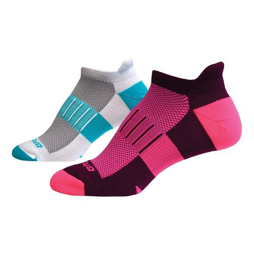 Brooks Ghost Midweight Tab 6 Pack Socks - Pink/Teal S