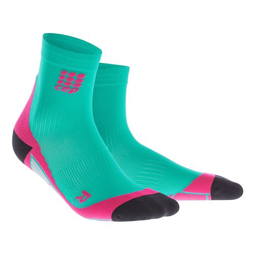 Womens CEP Dynamic+ Short Socks Injury Recovery - Lagoon/Pink L