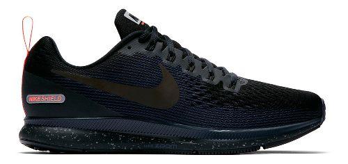 Mens Nike Air Zoom Pegasus 34 Shield Running Shoe - Black/Navy 8.5