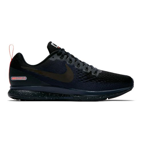 Mens Nike Air Zoom Pegasus 34 Shield Running Shoe - Black/Navy 14