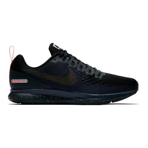 Mens Nike Air Zoom Pegasus 34 Shield Running Shoe - Black/Navy 8