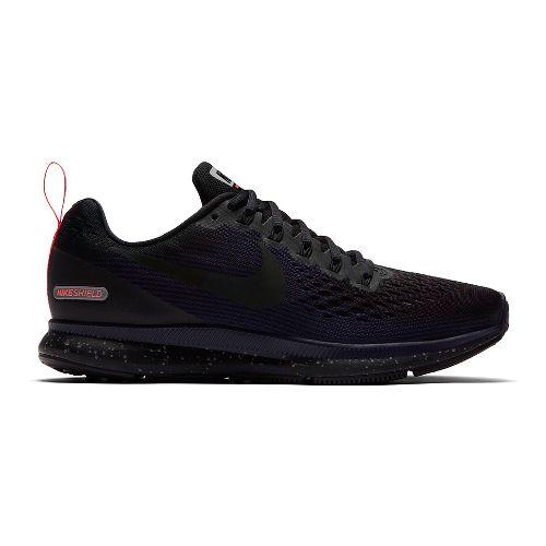 Womens Nike Air Zoom Pegasus 34 Shield Running Shoe - Black/Navy 10.5