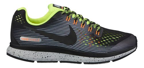 Kids Nike Air Zoom Pegasus 34 Shield Running Shoe - Grey/Volt 4Y