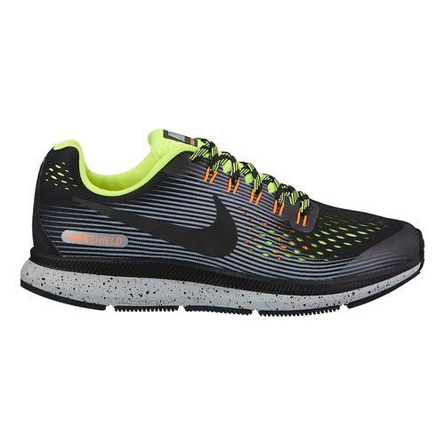 Kids Nike Air Zoom Pegasus 34 Shield Running Shoe - Grey/Volt 1Y