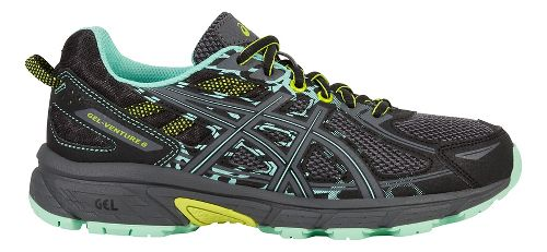Womens ASICS GEL-Venture 6 Trail Running Shoe - Black/Mint 10.5