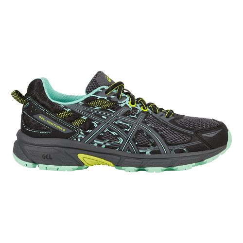 Womens ASICS GEL-Venture 6 Trail Running Shoe - Black/Mint 11.5