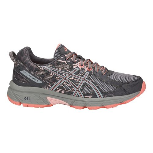 Womens ASICS GEL-Venture 6 Trail Running Shoe - Carbon/Grey/Pink 10.5