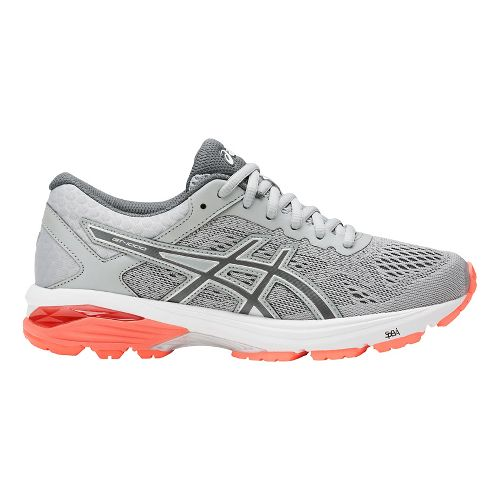 Womens ASICS GT-1000 6 Running Shoe - Grey/Coral 11.5