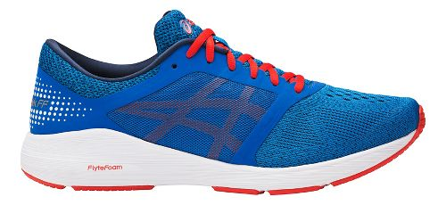 Mens ASICS Roadhawk FF Running Shoe - Blue/Red 10.5